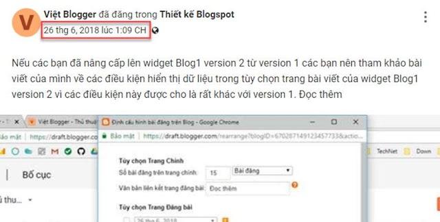 Tùy biến thời gian hiển thị bài viết trong widget Blog1 version 2