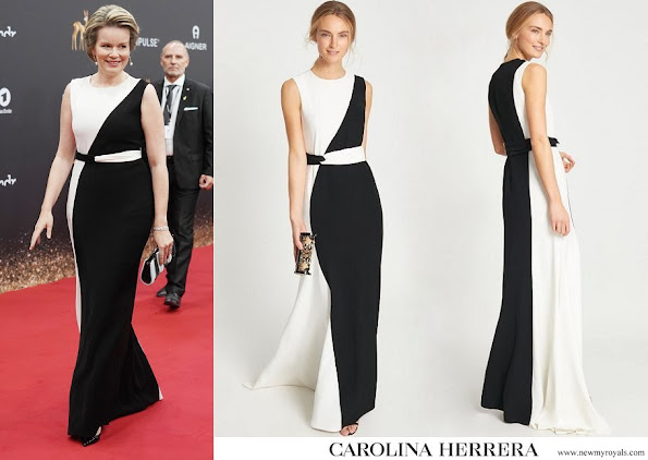 Queen Mathilde wore Carolina Herrera Two-Tone Crepe Gown in Black White