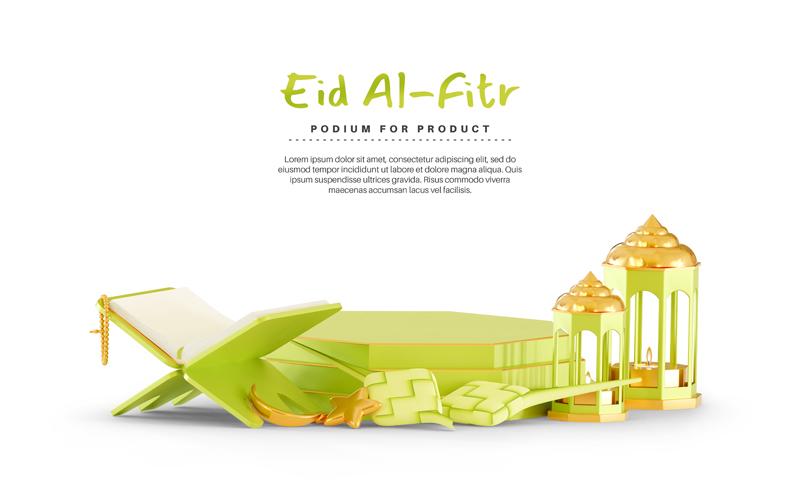 3D Eid Mubarak Background With Podium Ketupat
