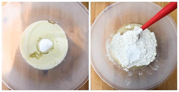 Blueberry ginger muffins - step 2 - sugar, salt, ginger, flour and baking powder