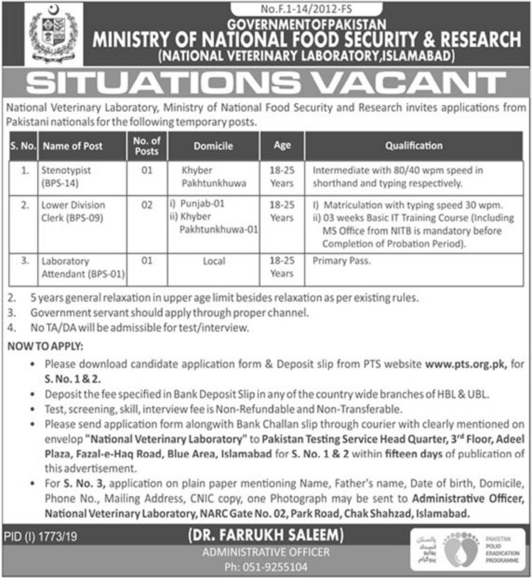 Ministry of National Food Security & Research Jobs 2019 By PTS