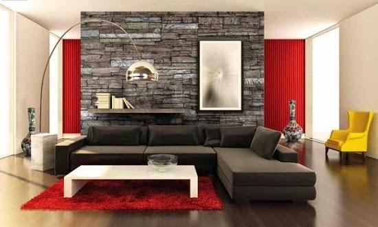 Salas con paredes en piedra salas con estilo - Paredes modernas para interiores ...