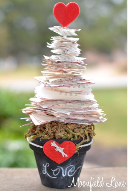 Valentine's Day Book Page Tree