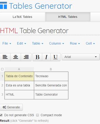 Generador de tablas HTML