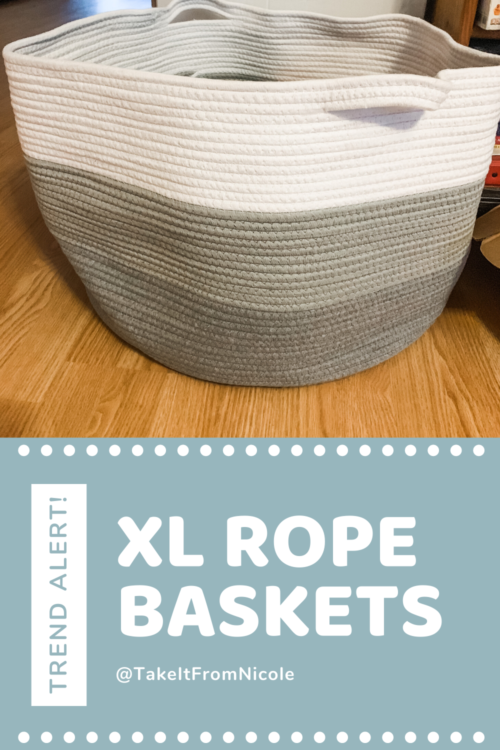 I've been using smaller rope baskets for the kids' toys for years but never thought much of it. Recently, I posted an XL rope basket I bought in the Take It From Nicole Facebook Group and people went BANANAS over it. I had no idea people would love it so much.