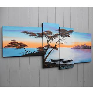 berbagai contoh gambar lukisan dinding 4 frame bingkai 4 in 1