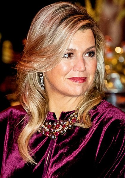 Princess Beatrix. Queen Maxima wore a new Basilia velvet midi dress by Zeus + Dione