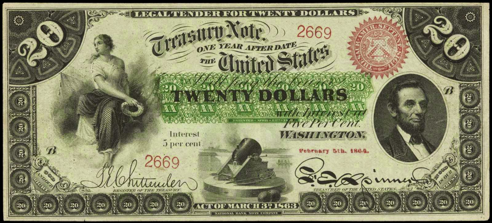 US currency 1863 Twenty Dollar Interest Bearing Note