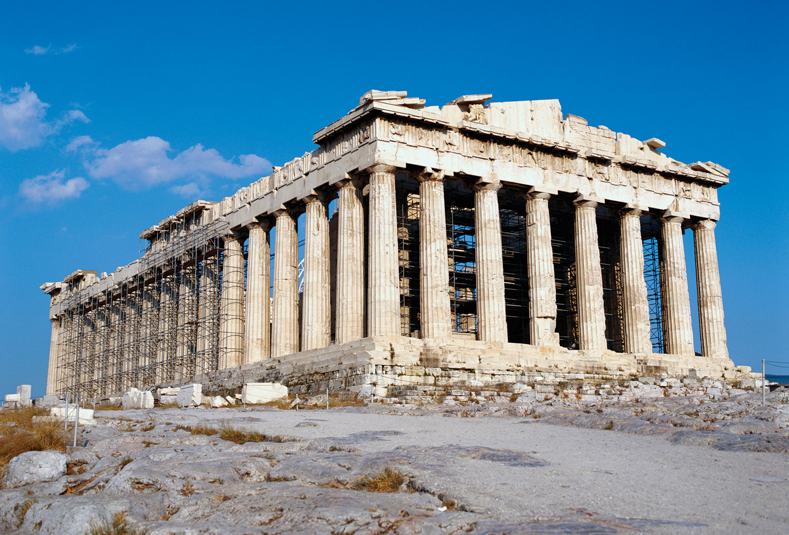 This is the ruins of the Greek Parthenon in Athens signifying the majesty of a once great Greek civilization that included the arts and philosophy.