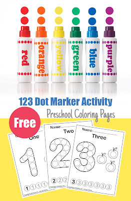 Free do a dot marker art activity color 123 count 1 to 10 preschool coloring pages