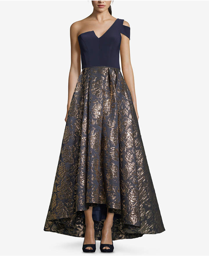 Betsy & Adam Asymmetrical Printed Gown