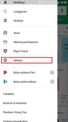 Masuk ke menu pengaturan Google Play Store