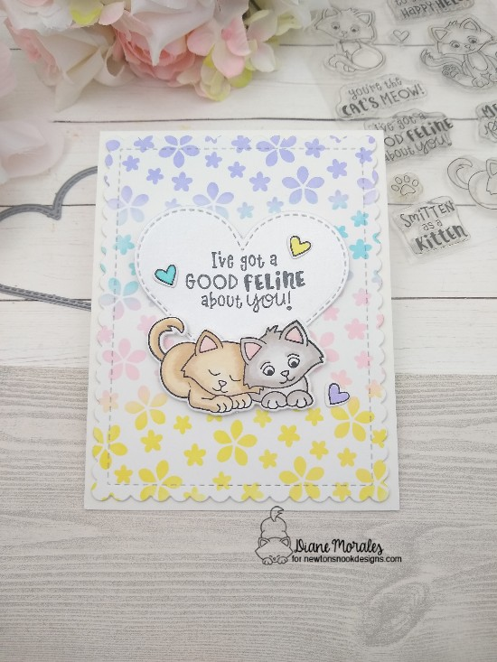 I've got a good feline about you by Diane features Petite Flowers, Frames & Flags, Heart Frames, and Smitten Kittens by Newton's Nook Designs; #newtonsnook, #inkypaws, #friendship, #catcards, #cardmaking
