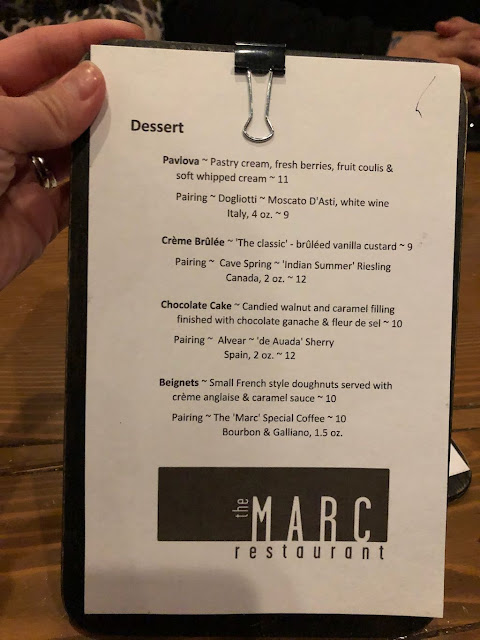 the Marc Restaurant dessert menu