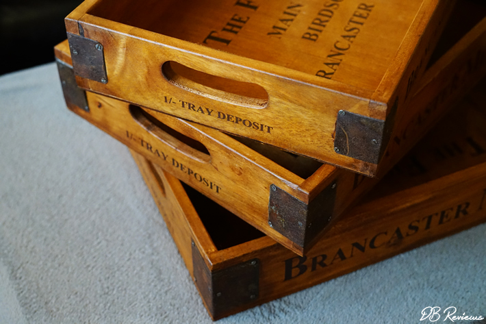 Market Vintage Style Wooden Storage Trays from the Basket Company
