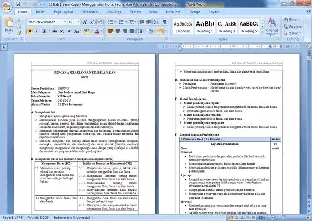 Contoh RPP Seni Budaya Perangkat Pembelajaran SMP Kelas 7 8 9 Kurikulum 2013