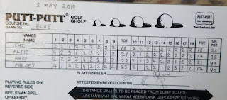 Putt-Putt scorecard from Cape Town, South Africa. Photo by PJ Goedhals, 2 May 2019
