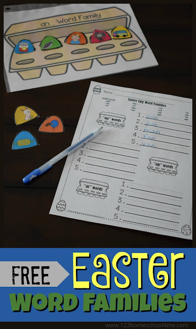 FREE Easter Word Families - fun hands on activity plus word family worksheet for kids from preschool, kindergarten, and first grade kids. This is perfect for learning about 15 word families (3 from each vowel) with a fun easter center, extra practice, spring homework