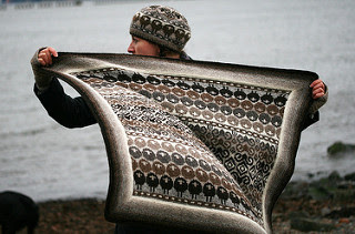 Lap Blanket knitting pattern with rows of repeated sheep.
