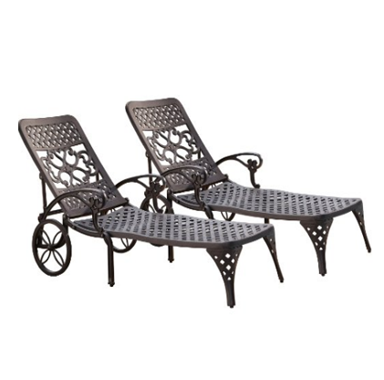 Home Styles Biscayne Black Chaise Lounge Chairs Set of 2
