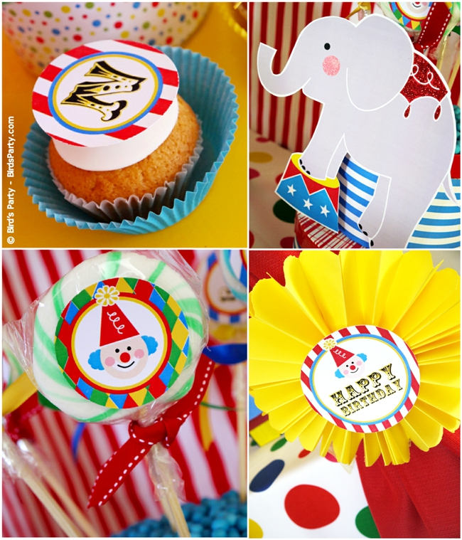 Big Top Circus Carnival Inspired Birthday Party Ideas and Printables Cupcakes