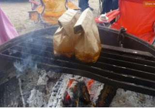 breakfast in a bag cooking over campfire