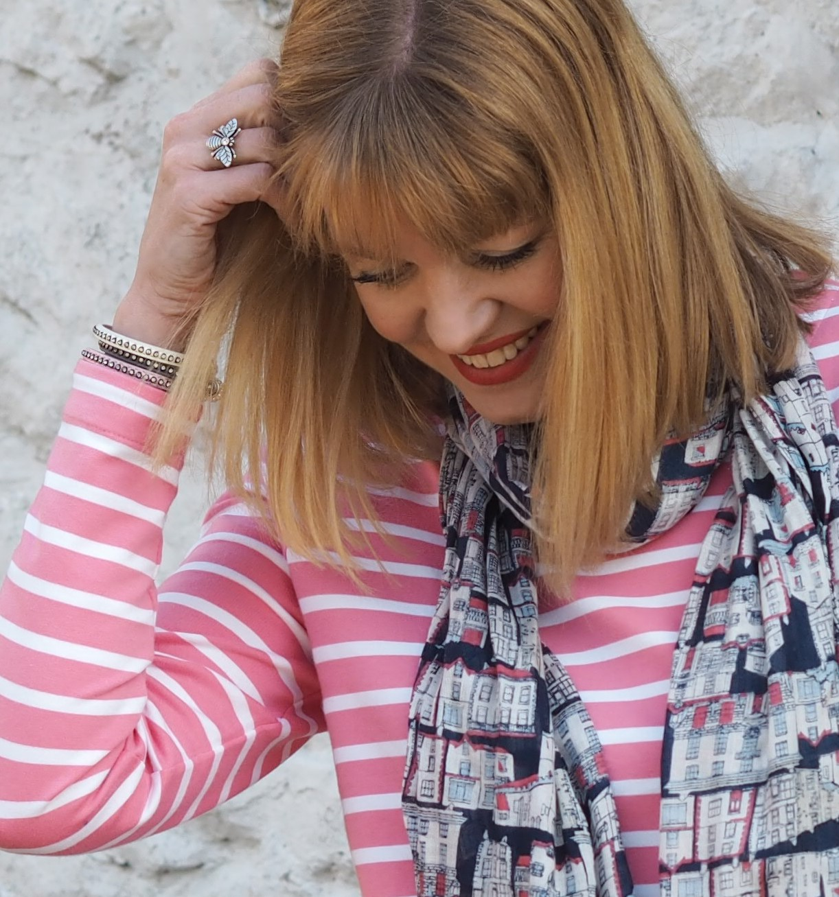 What Lizzy Loves wearing pink and white striped Tulchan top with Kirkby Lonsdale scarf