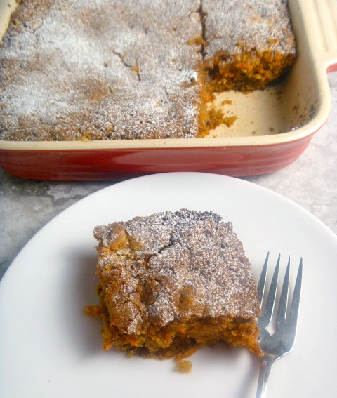 Carrot Snack Cake:  A wonderfully moist snack cake that's loaded with carrots and pecans and the perfect amount of spice.  The perfect everyday cake! - Slice of Southern
