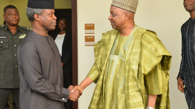 Osinbajo receives Jonathan's ex-VP in Aso Rock main