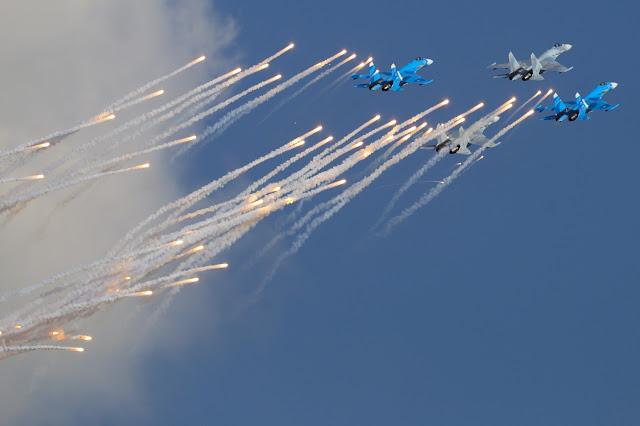Sukhoi Su-27 Flanker Among Fire Flare
