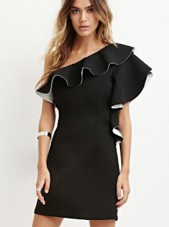Forever 21 black one shoulder ruffled mini dress