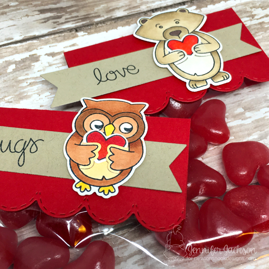 Valentine Treat holders by Jennifer Jackson | Sending Hugs Stamp Set by Newton's Nook Designs #newtonsnook #handmade