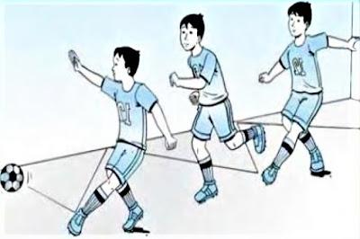 Menendang bola futsal dengan kaki dalam