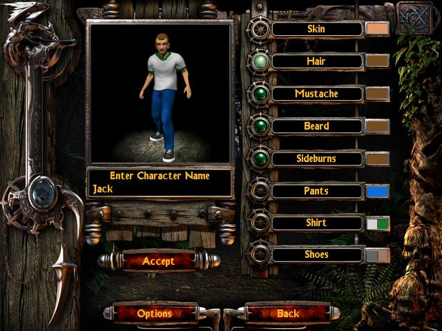 Nox character customisation screen