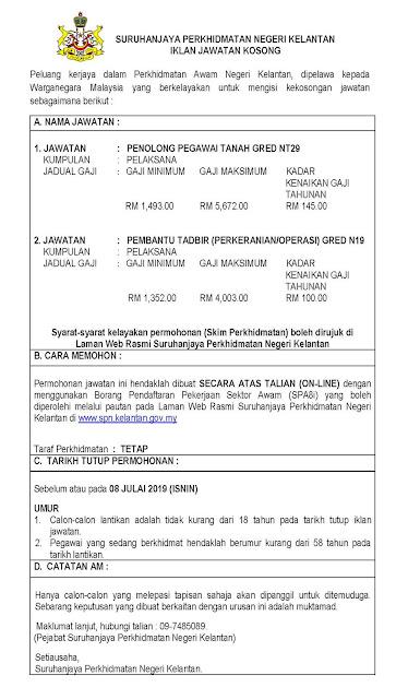 Jawatan Kosong Suruhanjaya Perkhidmatan Negeri Kelantan 2019