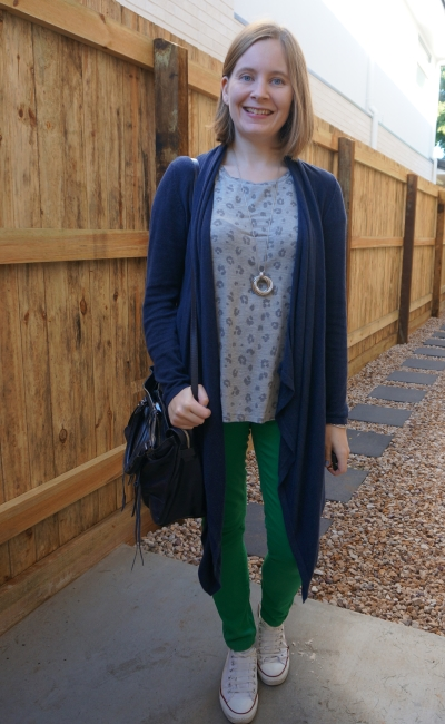 wearing kmart leopard print tee with green skinny jeans navy cardigan mum style winter | awayfromblue