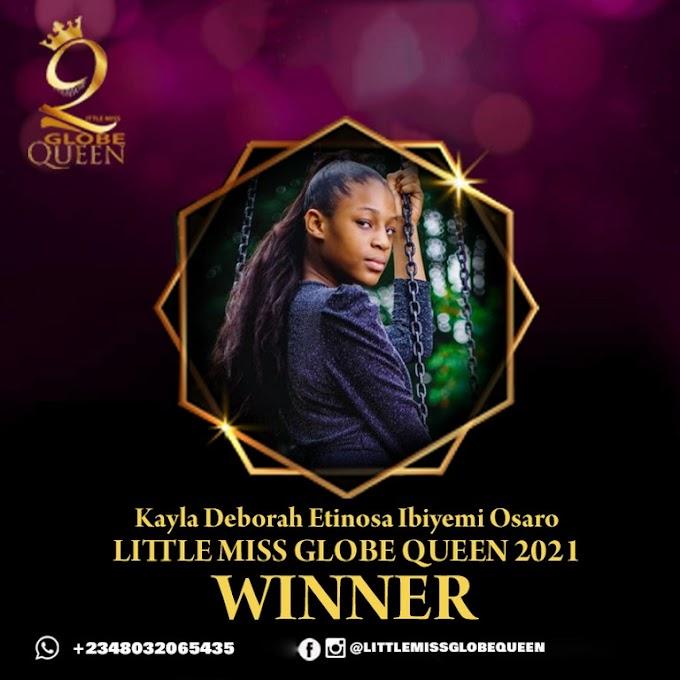 Kayla Deborah Etinosa Ibiyemi Osaro win Little Miss Globe Queen international 2021