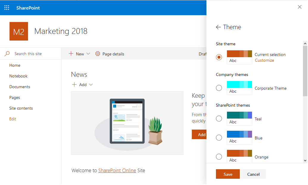 sharepoint online change theme