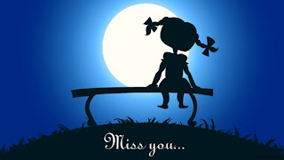 girl sitting on bench & i miss you picture