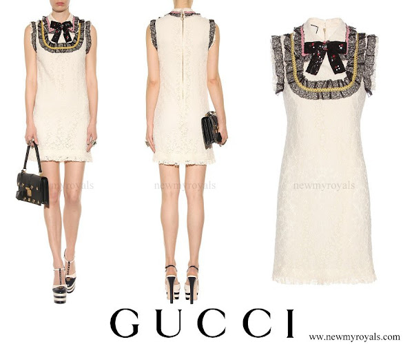 Charlotte Casiraghi wore GUCCI Embellished lace mini dress
