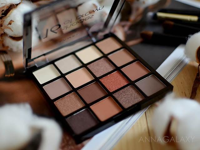 Цвета в палетке теней Lamel Professional Eyeshadow 16 Shades Of Brown
