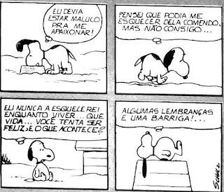 Tirinha do cartunista Schulz composta por quatro quadrinhos, apresenta o personagem Snoopy, um cãozinho da raça Beagle, branco com pintas pretas, orelhas pretas longas e caídas, olhos pequenos, focinho longo com uma bolinha preta na ponta, patas curtas e rabo também curto. Ele é extrovertido e vive num mundo de fantasias, principalmente quando dorme e filosofa em cima do telhado da sua casinha. Seus pensamentos estão escritos dentro de um balão, próximo a sua cabeça.  Quadro 1- Snoopy come sua refeição e pensa: Eu devia estar maluco pra me apaixonar! Quadro 2- Ele sai caminhando cabisbaixo: Pensei que podia me esquecer dela comendo, mas não consigo... Quadro 3- Sentado próximo a sua casinha ele reflete: Eu nunca a esquecerei enquanto viver...que vida...você tenta ser feliz e o que acontece? Quadro 4- Deitado em cima do telhado da sua casinha com a barriga estufada ele conclui: Algumas lembranças e uma barriga!