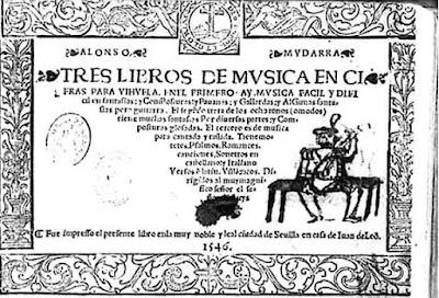 Image of title page of Mudarra in Tres libros de musica en cifras para vihuela, Libro I, Folio VII. Sevilla, 1546