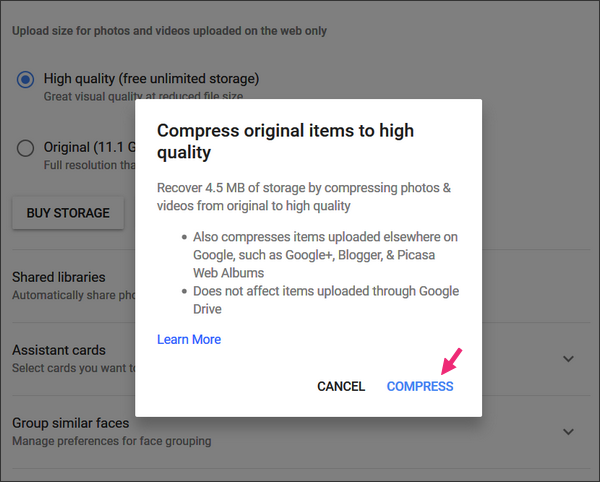 convert Original quality Google photos to High quality to gain Google Drive space