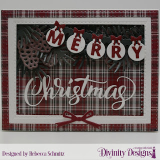 Paper Collection:  Rustic Christmas  Custom Dies: Rectangles, Double Stitched Rectangles, Merry Christmas, Pinecones & Pine Branches, Circle Ornaments, Mini Tags & Labels, Lavish Layers, Pennant Row, Windowsill Candles