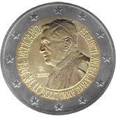 vatikaani 2 euroa kolikko paavi benedictus 2007