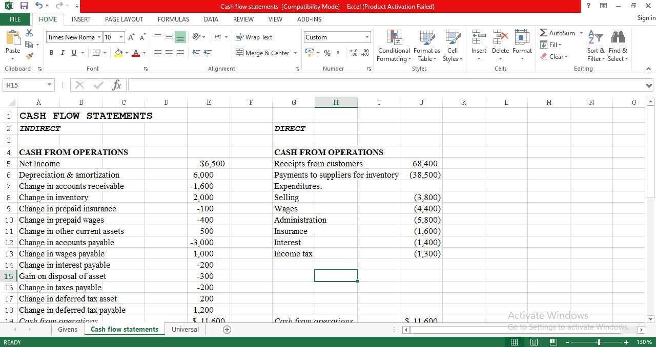 Cash Flow Statement Template in Excel - Free Download