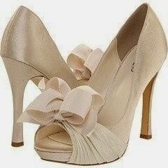 gold ribbon wedding shoes