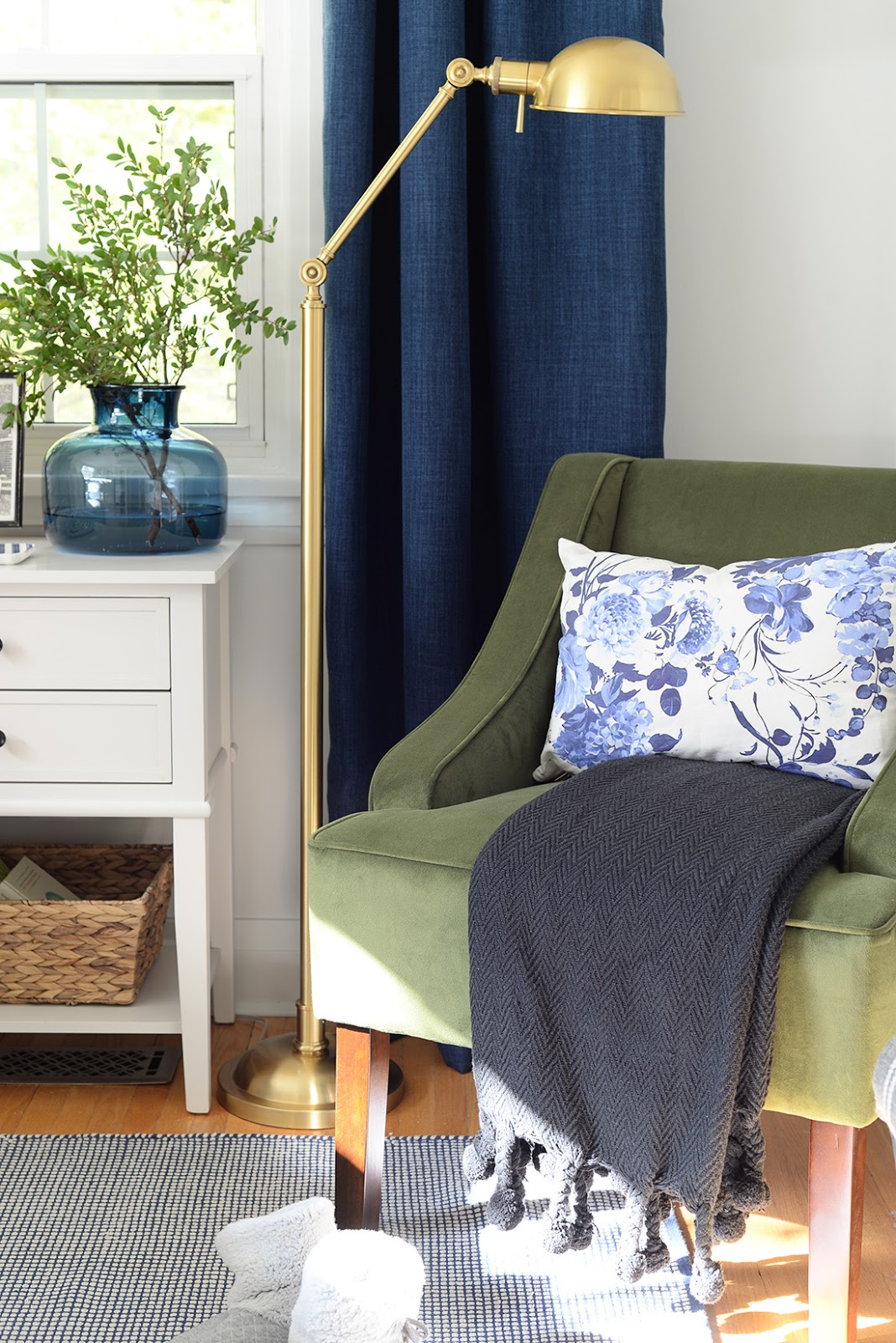 hudson valley lighting girard floor lamp, navy blue curtains, ikea hemnes desk, homepop swoop arm velvet chair, velvet green chair
