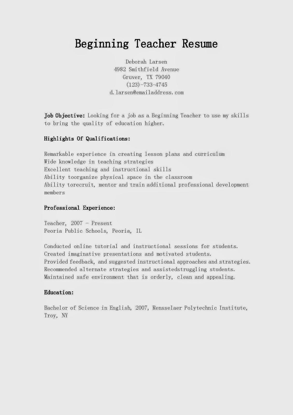 beginner teacher resume examples